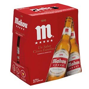 Cerveza Botella Mahou 5 estrellas Pack 6 25cl