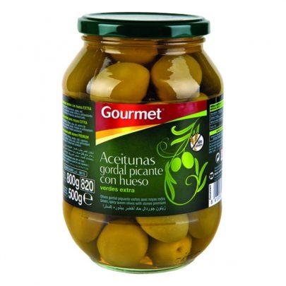 Conserva Aceitunas Gordal picante con hueso 500g Gourmet